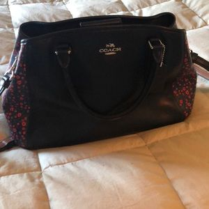 Coach Bag - Black with red flower accents